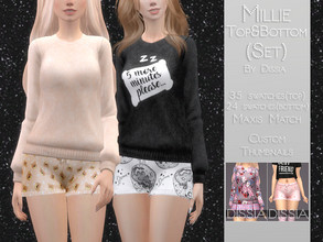 Sims 4 — Millie Pajama Top and Bottom Set by Dissia — Millie Pajama Top and Bottom Set Set includes Millie Pajama Top and