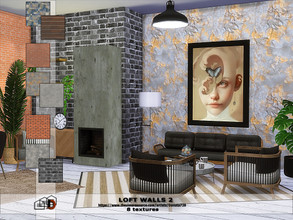 Sims 4 — Loft walls 2 by Danuta720 — 8 textures Created by Danuta720 ---------------------------- On the base game.