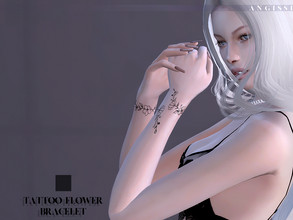Sims 4 — Tattoo-Flower bracelet by ANGISSI — *For all questions go here-----angissi.tumblr.com *3 black options
