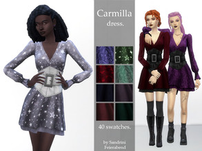 Sims 4 — Carmilla Dress. by Sandrini_Feierabend — Cute vampy or witchy dress with corset belt. This dress is named after