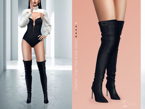 Sims 4 — Jius-Leather over-the-knee boots 01 by Jius — -Leather over-the-knee boots -5 colors -Party/Cold Weather -Custom