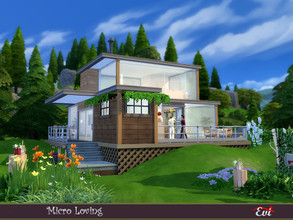 Sims 4 — Micro Loving by evi — A cuteforest house with two floors, one bedroom, a zen litlle pool and a bbq