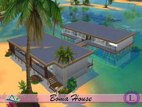 Sims 4 — Boma House by Lyca02 — Surrounded on all sides by tranquil waters, Enjoy a relaxing day or night by the calming