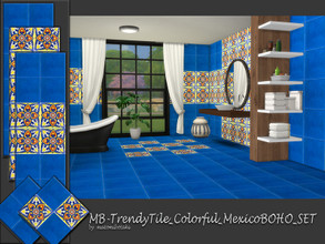 Sims 4 — MB-TrendyTile_Colorful_MexicoBOHO_SET by matomibotaki — MB-TrendyTile_Colorful_MexicoBOHO_SET, a bright and