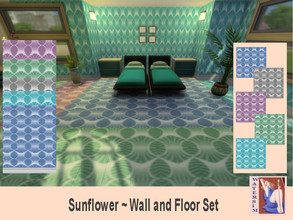 Sims 4 — ws Retro Sunflower Set by watersim44 — Selfmade created pattern. Comes in 5 colors - each item with custom