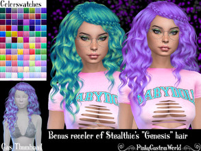 Sims 4 — Bonus recolor of Stealthic's Genesis hair by PinkyCustomWorld — - Recolor in 96 different colors - Custom