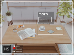 Sims 4 — Morn Coasters - Networksims by networksims — 9 small coasters in 6 designs each. Includes a slot for small
