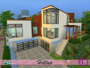 Sims 4 — Hilltop - No CC by Lyca02 — Your modern house on the Hilltop This House contains: 3 Bedrooms 4 Bathrooms 2