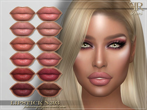 Sims 4 — FRS Lipstick N203 by FashionRoyaltySims — Standalone Custom thumbnail 12 color options HQ texture Compatible