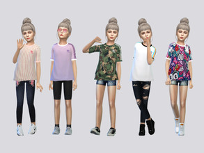 Sims 4 — ADIDAS Tees Girls by McLayneSims — TSR EXCLUSIVE Standalone item 14 Swatches MESH by Me NO RECOLORING Please