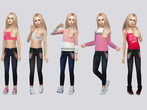 Sims 4 — Pop Embroidered Jeans by McLayneSims — TSR EXCLUSIVE Standalone item 5 Swatches MESH by Me NO RECOLORING Please