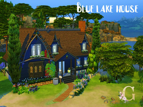 Sims 4 — Blue lake house by GenkaiHaretsu — Hello! Welcome my new farm type lake house in dark blue colors!
