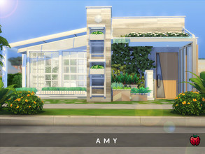 Sims 4 — Amy - no cc by melapples — a cosy 1 bedroom contemporary home. enjoy! 1st floor - pool - kitchen - dining area -