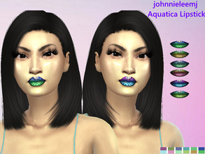 Sims 4 — johnnieleemj Aquatica Lipstick by johnnieleemj — Mermaid/Fish Scale patterned 2 tone Lipstick