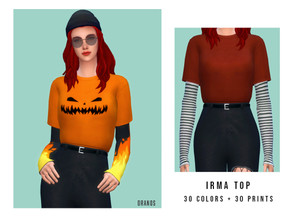 Sims 4 — Irma Top by OranosTR —  - New Mesh - 30 Colors /30 Prints - EA Texture [Mixed] - HQ mode compatible - Prints in