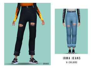 Sims 4 — Irma Jeans by OranosTR —  - New Mesh [3D Tear and Belt] - 6 Colors - Handmade Texture - Specular and Shadow Map