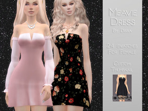 Sims 4 — Meavie Dress by Dissia — Meavie Dress 24 swatches Hope you like it ;)