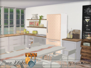 Sims 4 — Marie Kitchen by ArwenKaboom — A new kitchen set for your simmies and it contains: - Counter - Side table -
