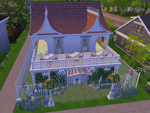 Sims 4 — Jardin de lavende by Anny_M4 — Here is a small restaurant in pink and white colors. It has two floors and a