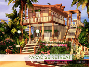 Sims 4 — Paradise Retreat by Lhonna — Tropical, romantic cabin for a couple of Sims. The lot is furnished, landscaped,