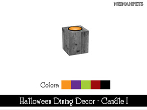 Sims 4 — Halloween Dining Decor - Candle I {Mesh Required} by neinahpets — A Halloween candle inside a dark wooden