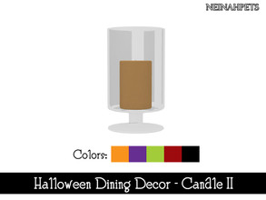 Sims 4 — Halloween Dining Decor - Candle II {Mesh Required} by neinahpets — A tall candle in a glass container. 5 Colors