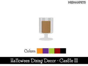 Sims 4 — Halloween Dining Decor - Candle III {Mesh Required} by neinahpets — A Halloween candle in a short glass