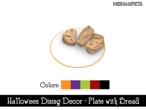 Sims 4 — Halloween Dining Decor - Plate with Bread {Mesh Required} by neinahpets — A Halloween hued plate trim with