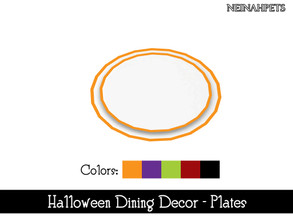 Sims 4 — Halloween Dining Decor - Plates {Mesh Required} by neinahpets — A Halloween hued trim stack of plates. 5 Colors