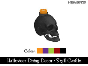 Sims 4 — Halloween Dining Decor - Skull Candle {Mesh Required} by neinahpets — A candle in a black skull for Halloween. 5