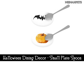Sims 4 — Halloween Dining Decor - Small Plate with Spoon {Mesh Requir by neinahpets — A small plate with spoon. 2 Colors.