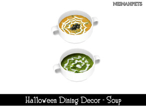 Sims 4 — Halloween Dining Decor - Soup {Mesh Required} by neinahpets — A large soup bowl with fall soups. 2 Soups.