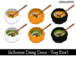 Sims 4 — Halloween Dining Decor - Soup Bowl {Mesh Required} by neinahpets — A pumpkin soup bowl with fall soups. 2 Soups