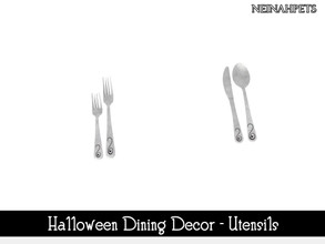 Sims 4 — Halloween Dining Decor - Utensils {Mesh Required} by neinahpets — A set of Halloween dining utensils.