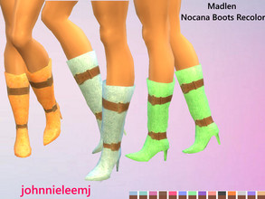 Sims 4 — johnnieleemj - Madlen Nocana Boots Recolor(mesh needed) by johnnieleemj — Denim textured/belted recolor of