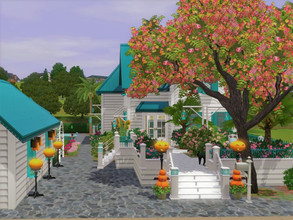 Sims 3 — Turquoise Cottage  no cc by sgK452 — Adorable house by the sea or river, puddle! White and turquoise, the