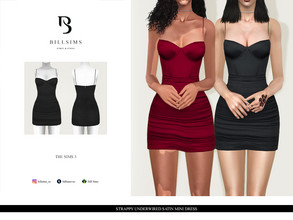 Sims 3 — Strappy Underwired Satin Mini Dress by Bill_Sims — YA/AF Everyday/Formal Available for Maternity Recolorable - 1