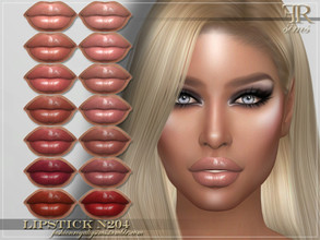 Sims 4 — FRS Lipstick N204 by FashionRoyaltySims — Standalone Custom thumbnail 14 color options HQ texture Compatible