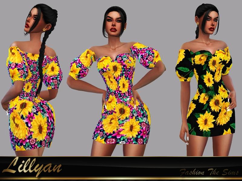 Sims 4 — Dress Flora by LYLLYAN — Dress in 2 prints. Mesh edited by me. Base game .