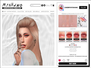 Sims 4 — romand Glasting Water Lip Gloss by cherrymyshuno — - 4 swatches - teen - elder - base game compatible - custom