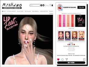 Sims 4 — moonshot Lip feat. BLACKPINK Lipstick by cherrymyshuno — - 4 swatches - teen - elder - base game compatible -