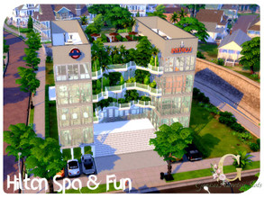 Sims 4 — Hilton Spa & Fun by GenkaiHaretsu — A large spa complex with gym, indoor pool, outdoor pool, massage, yoga,