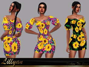 Sims 4 — Dress Flora by LYLLYAN — Dress in 2 prints. Mesh edited by me. Base game .