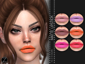 Sims 4 — Matte Lipstick Z03 by ZENX — -Base Game -All Age -For Female -6 colors -Works with all of skins -Compatible with