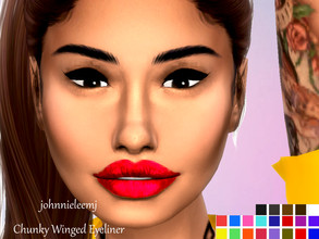 Sims 4 — johnnieleemj Chunky Winged Eyeliner by johnnieleemj — Chunky/Thick winged eyeliner in several colors