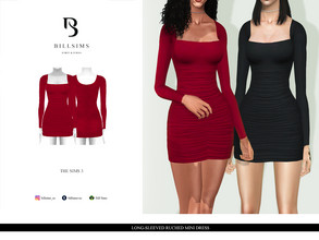 Sims 3 — Long-Sleeved Ruched Mini Dress  by Bill_Sims — YA/AF Everyday/Formal Available for Maternity Recolorable - 1