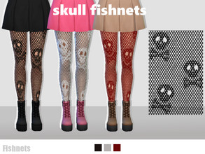 Sims 4 — Halloween Fishnets by EvaDotG — Skull Fishnets: ~Come in 3 swatches: Black, Red and White. Ghost Fishnets: ~Come