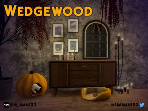 Sims 4 — Wedgewood Collection by sim_man123 — A spooky-themed entryway/hallway set, featuring a large dresser sideboard,