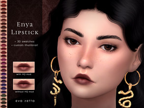 Sims 4 — Enya Lipstick - Eva Zetta by Eva_Zetta — A flattering, glossy lipstick for your sims. - Comes in 30 swatches -
