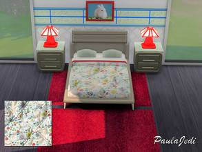 Sims 4 — Rabbit Bedroom Set by paulajedi — This is a cute, adult bedroom set which includes the bed/comforter, night